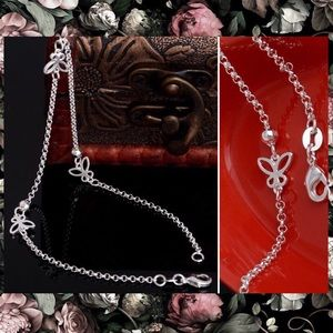 925 Silver Butterfly Ankle Chain Bracelet Anklet